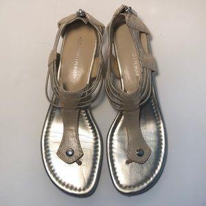 Donald J Pliner gold zip cork heel sandals 9M